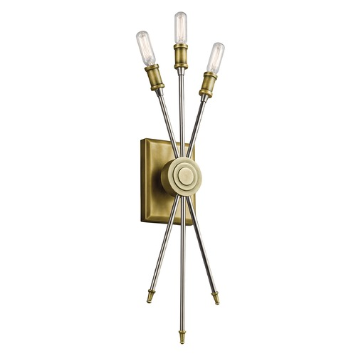 Kichler Lighting Mid-Century Modern Sconce Brass Doncaster by Kichler Lighting 42203NBR