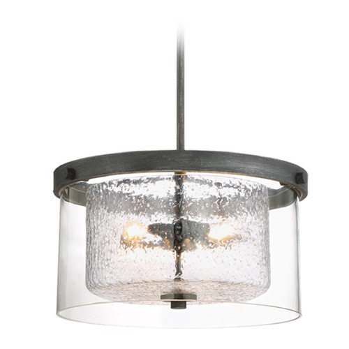 Designers Fountain Lighting Designers Fountain Cazadero Weathered Pewter Pendant Light with Drum Shade 89111-WP