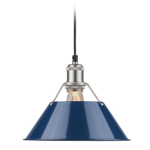 Golden Lighting Golden Lighting Orwell Pw Pewter Mini-Pendant Light with Conical Shade 3306-M PW-NVY