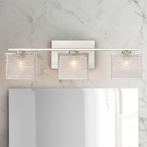 Quoizel Lighting Quoizel Westcap Brushed Nickel 3-Light Bathroom Light with Sandblased and Clear Glass Shades WCP8603BN
