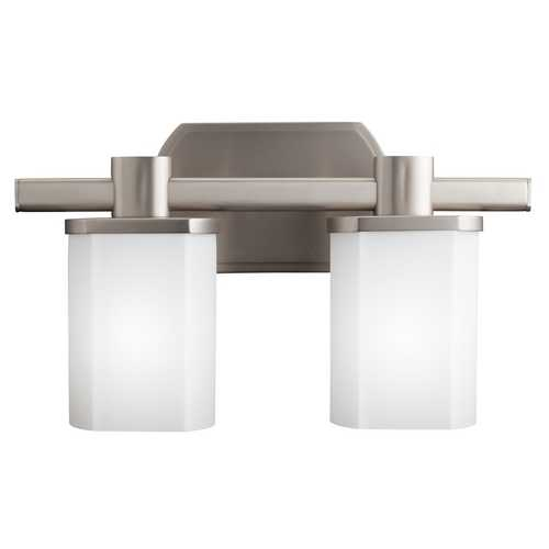 Kichler Lighting Kichler Brushed Nickel Modern Bathroom Light with White Glass 5052NI