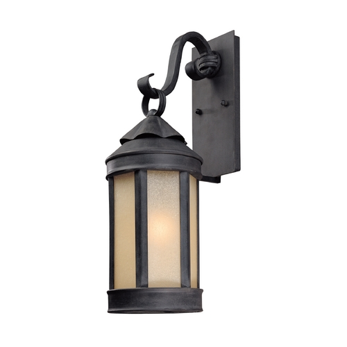 Troy Lighting Outdoor Wall Light with White Glass in Aged Iron Finish B1462AI