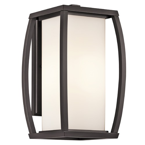 Kichler Lighting Kichler Outdoor Wall Light with White Glass in Bronze Finish 49338AZ
