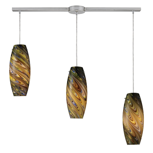 Elk Lighting Modern Multi-Light Pendant Light with Multi-Color Glass and 3-Lights 10079/3L-CV