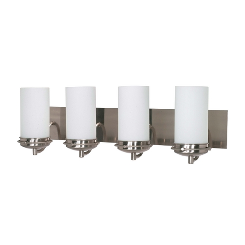Nuvo Lighting Modern Bathroom Light with White Glass in Brushed Nickel Finish 60/497