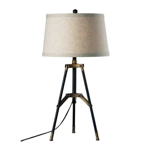 Dimond Lighting Tripod Table Lamp in Black with Gold Accents and Drum Shade D309