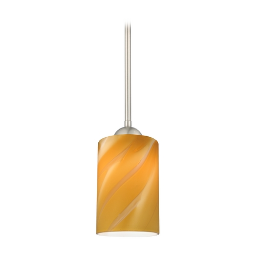 Design Classics Lighting Modern Mini-Pendant Light with Butterscotch Cylinder Art Glass 581-09 GL1022C