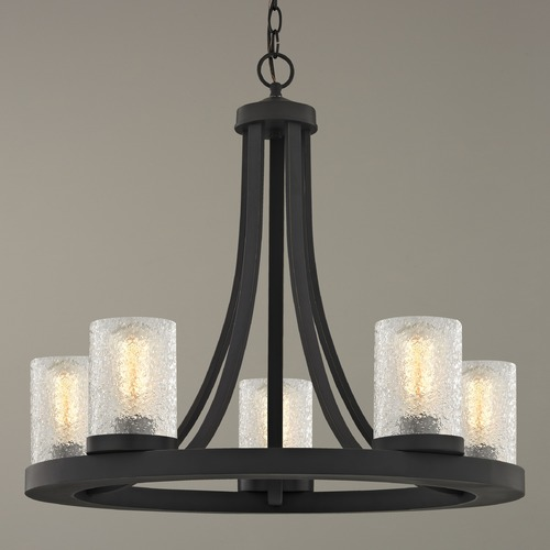 Design Classics Lighting Industrial Chandelier with Ice Glass Bronze 5-Light 162-78 GL1060C