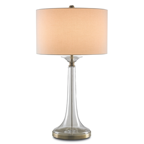 Currey and Company Lighting Currey and Company Lighting Clear / Antique Brass Table Lamp with Drum Shade 6635