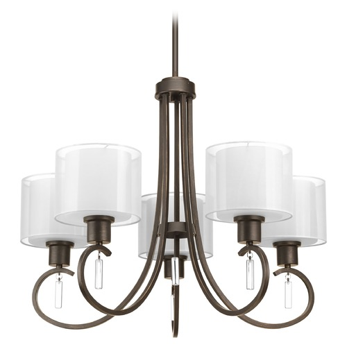 Progress Lighting Chandelier with White Glass in Antique Bronze Finish P4696-20