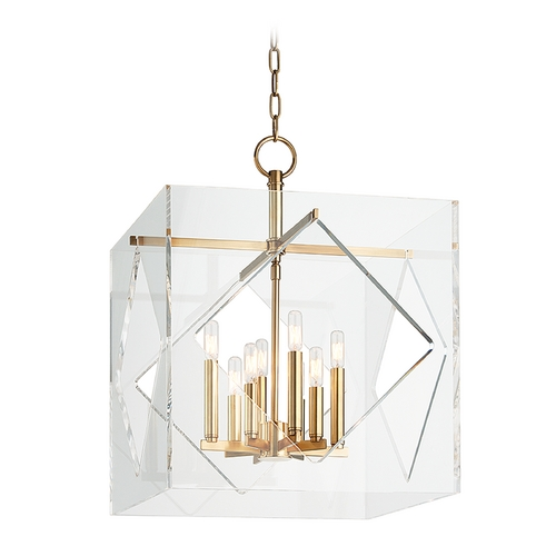 Hudson Valley Lighting Hudson Valley Lighting Travis Aged Brass Pendant Light with Square Shade 5920-AGB