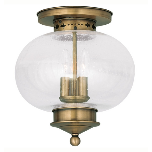 Livex Lighting Livex Lighting Harbor Antique Brass Close To Ceiling Light 5037-01