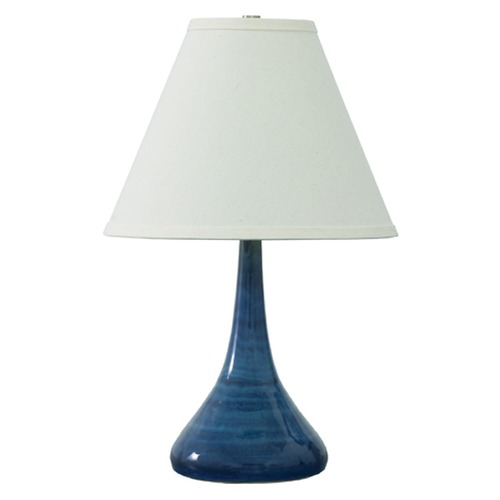 House of Troy Lighting House Of Troy Scatchard Blue Gloss Table Lamp with Conical Shade GS802-BG