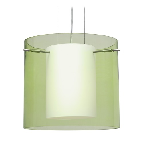 Besa Lighting Besa Lighting Pahu Satin Nickel LED Pendant Light with Drum Shade 1KG-L18407-LED-SN