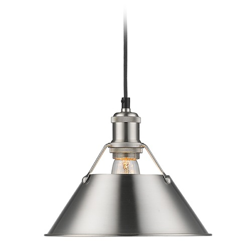 Golden Lighting Golden Lighting Orwell Pw Pewter Mini-Pendant Light with Conical Shade 3306-M PW-PW