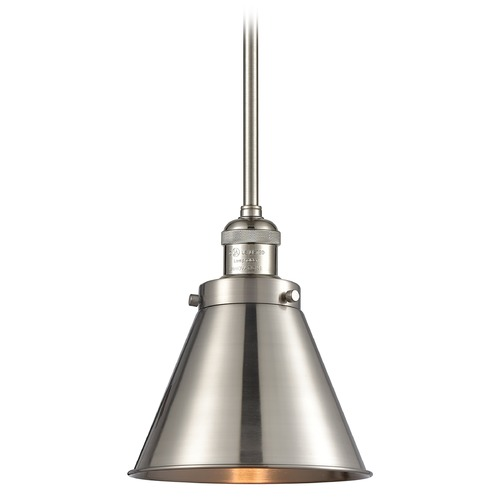 Innovations Lighting Innovations Lighting Appalachian Brushed Satin Nickel Mini-Pendant Light with Conical Shade 201S-SN-M13-SN