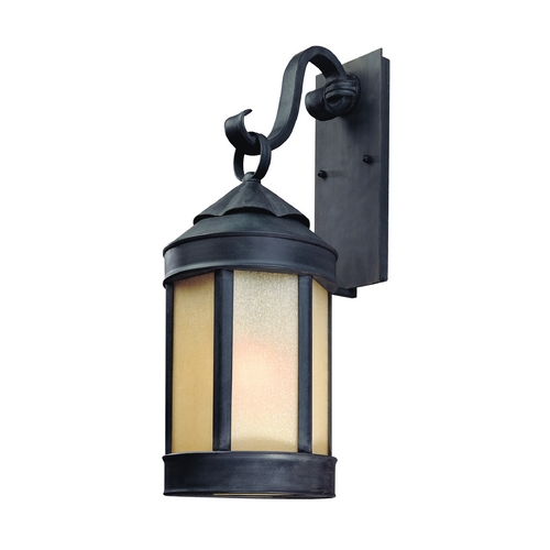 Troy Lighting Outdoor Wall Light with White Glass in Aged Iron Finish B1463AI