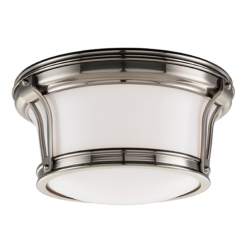 Hudson Valley Lighting Flushmount Light with White Glass in Satin Nickel Finish 6510-SN
