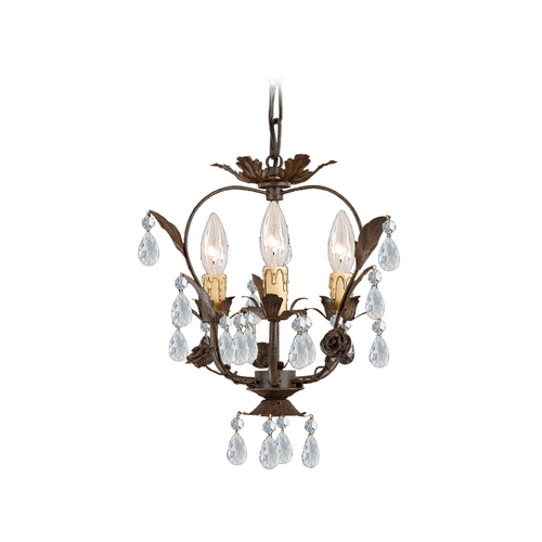 Crystorama Lighting Crystal Mini-Chandelier in Dark Rust Finish 5823-DR