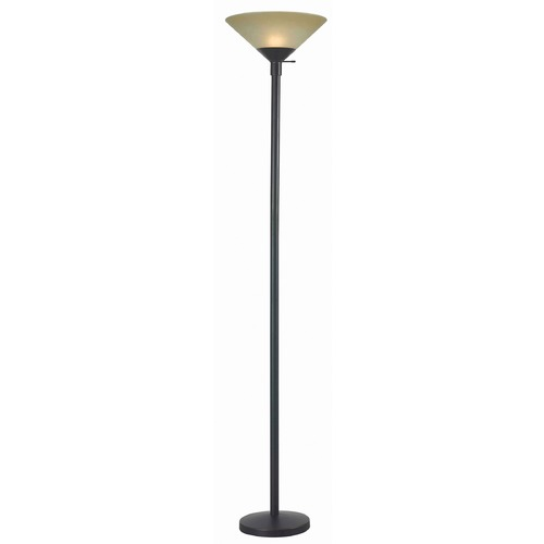Kenroy Home Lighting Torchiere Lamp with Amber Glass in Oil Rubbed Bronze Finish 32110ORB