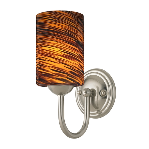 Design Classics Lighting Sconce with Brown Art Glass in Satin Nickel Finish 593-09 GL1023C