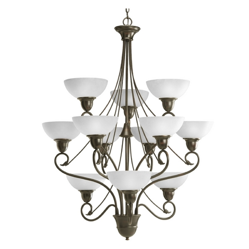 Progress Lighting Progress Chandelier with White Glass in Antique Bronze Finish P4604-20