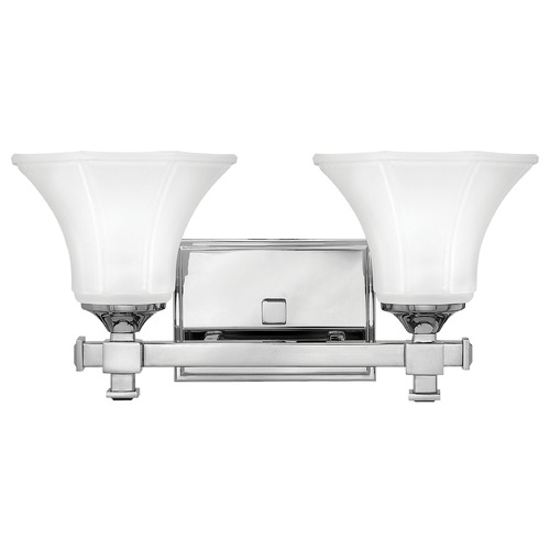 Hinkley Lighting Bathroom Light with White Glass in Chrome Finish 5852CM
