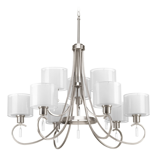 Progress Lighting Chandelier with White Glass in Brushed Nickel Finish P4697-09