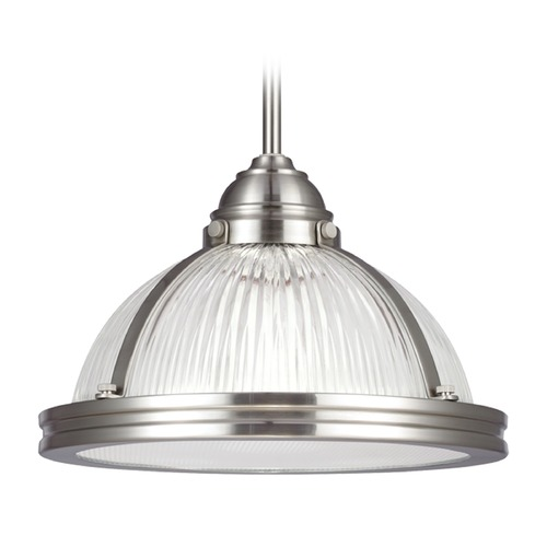 Sea Gull Lighting Sea Gull Lighting Pratt Street Prismatic Brushed Nickel Pendant Light 65060BLE-962