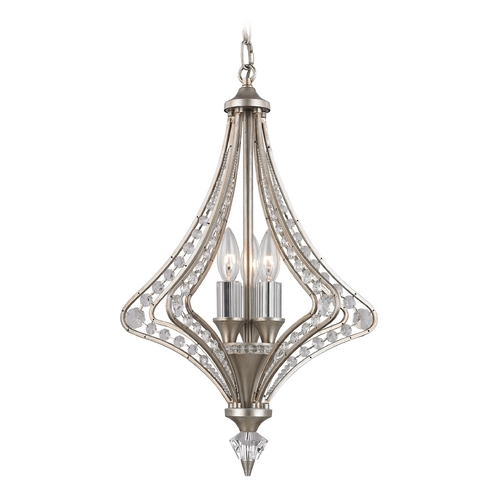 Elk Lighting Crystal Pendant Light in Satin Silver Finish 46061/3