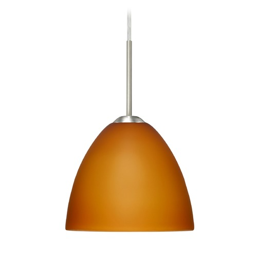 Besa Lighting Besa Lighting Sasha Ii Satin Nickel LED Mini-Pendant Light with Bell Shade 1BT-757280-LED-SN