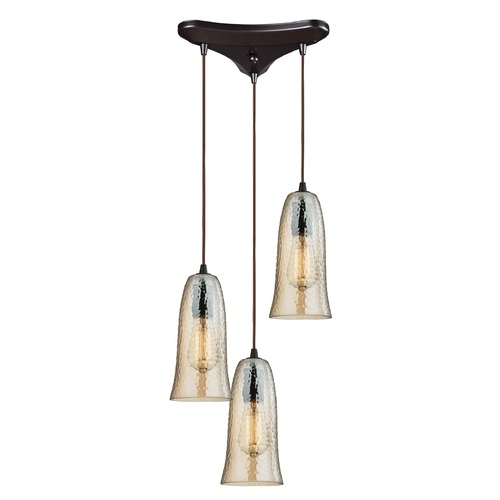 Elk Lighting Elk Lighting Hammered Glass Oil Rubbed Bronze Multi-Light Pendant with Bell Shade 10431/3HAMP