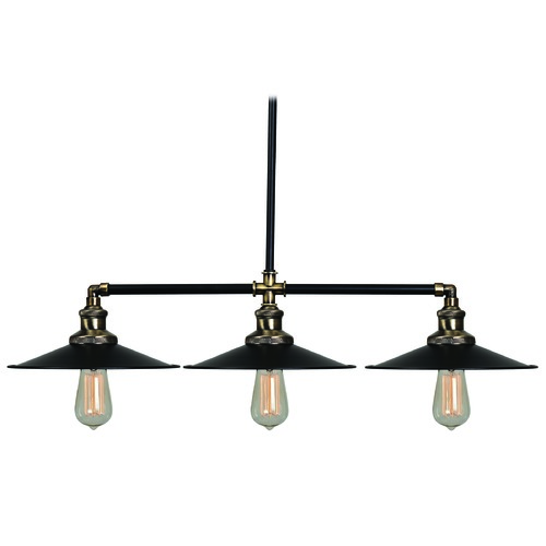 Kenroy Home Lighting Mid-Century Modern Island Light Black and Antique Bronze Ancestry by Kenroy Home 93377BL