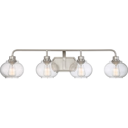 Quoizel Lighting Seeded Glass Bathroom Light Brushed Nickel Quoizel Lighting TRG8604BN