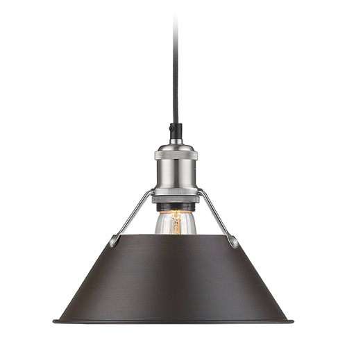 Golden Lighting Golden Lighting Orwell Pw Pewter Mini-Pendant Light with Conical Shade 3306-M PW-RBZ