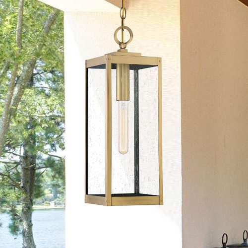 Quoizel Lighting Quoizel Westover Antique Brass Outdoor Hanging Light with Clear Seeded Glass WVR1907A