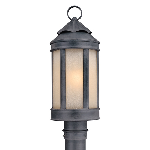 Troy Lighting Post Light with White Glass in Aged Iron Finish P1464AI