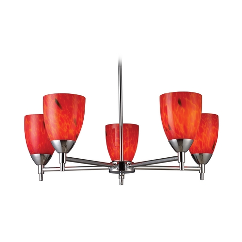 Elk Lighting Chandelier with Art Glass in Polished Chrome Finish 10155/5PC-FR