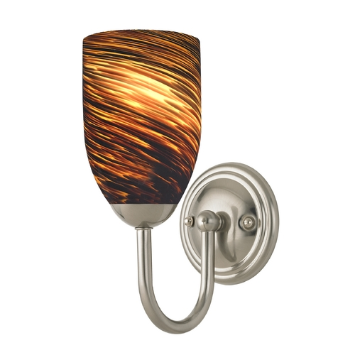Design Classics Lighting Sconce with Brown Art Glass in Satin Nickel Finish 593-09 GL1023D