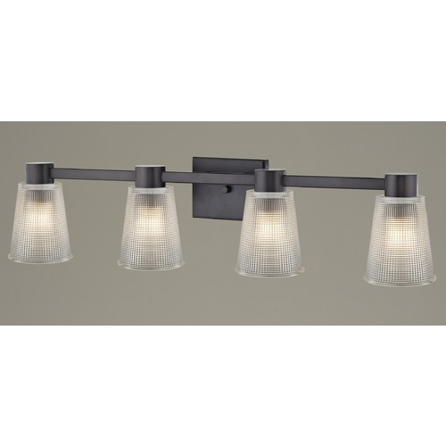 Design Classics Lighting 4-Light Prismatic Glass Bathroom Light Bronze 2104-220 GL1056-FC