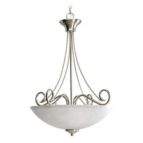 Progress Lighting Progress Pendant Light with White Glass in Brushed Nickel Finish P3325-09