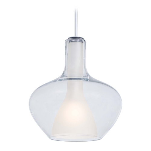 George Kovacs Lighting Modern Pendant Light with White Glass in Chrome Finish P3809-077