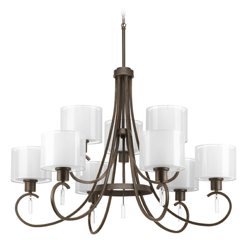Progress Lighting Progress Lighting 2-Tier 9-Light Chandelier with White Glass in Antique Bronze P4697-20