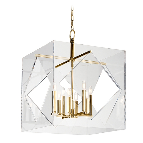 Hudson Valley Lighting Hudson Valley Lighting Travis Aged Brass Pendant Light with Square Shade 5924-AGB