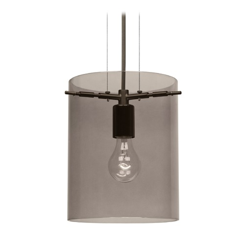 Besa Lighting Besa Lighting Pahu Bronze Mini-Pendant Light with Cylindrical Shade 1KG-S00607-BR-NI