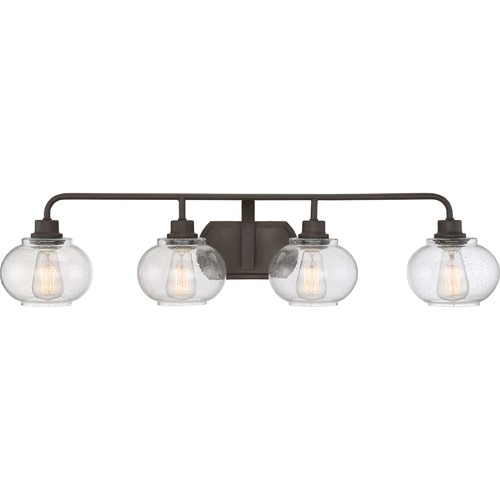 Quoizel Lighting Seeded Glass Bathroom Light Bronze Quoizel Lighting TRG8604OZ