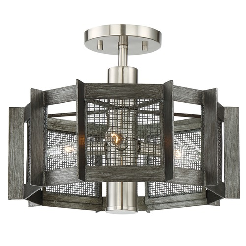 Designers Fountain Lighting Designers Fountain Baxter Weathered Iron Semi-Flushmount Light 89311-WI