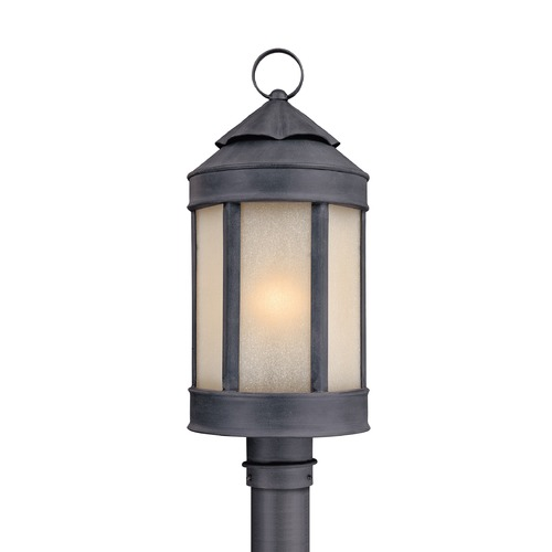 Troy Lighting Post Light with White Glass in Aged Iron Finish P1465AI
