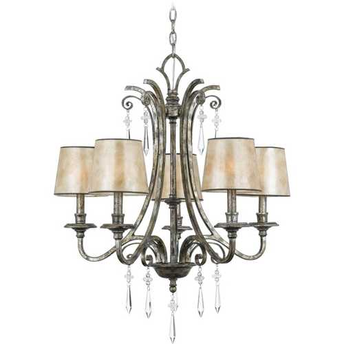 Quoizel Lighting Crystal Chandelier with Mica Shades in Mottled Silver Finish KD5005MM
