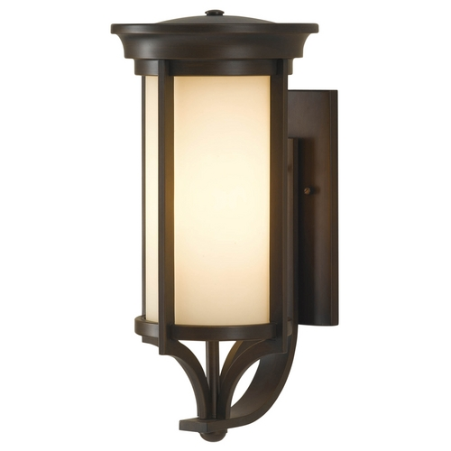 Feiss Lighting Outdoor Wall Light with Beige / Cream Glass in Heritage Bronze Finish OL7502HTBZ